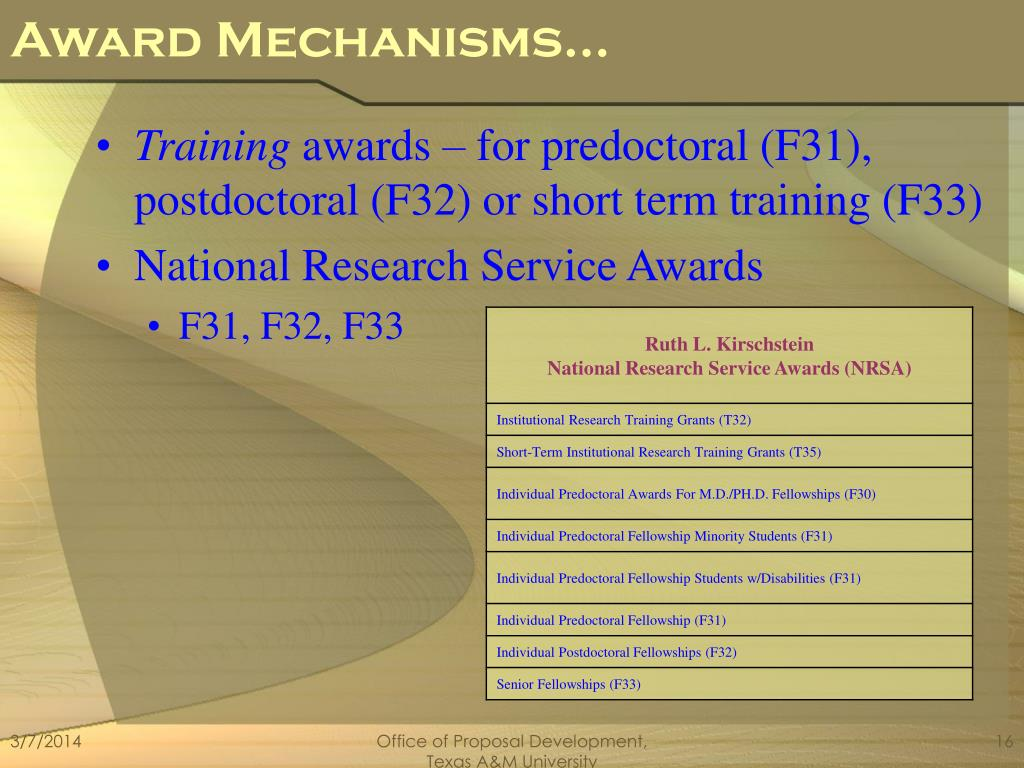 Award Mechanisms…