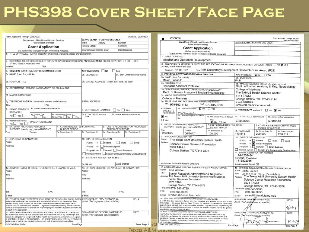 PHS398 Cover Sheet/Face Page