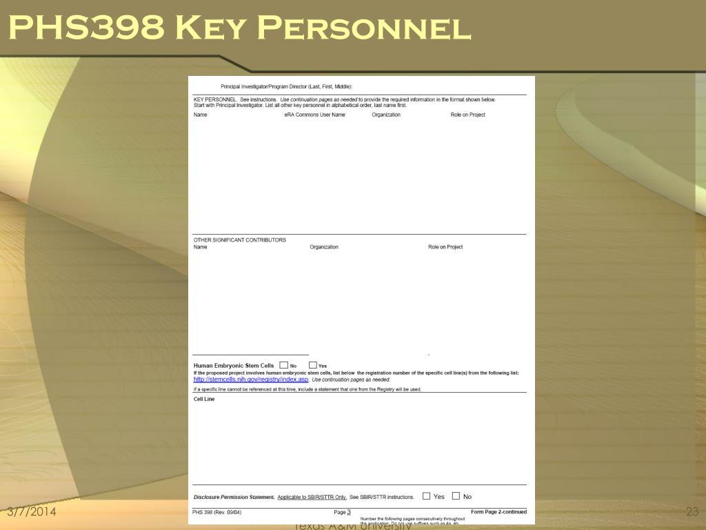 PHS398 Key Personnel