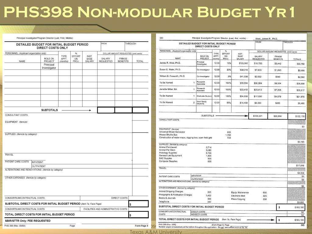 PHS398 Non-modular Budget Yr1