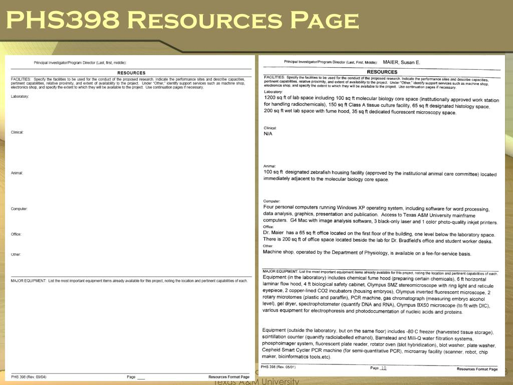 PHS398 Resources Page