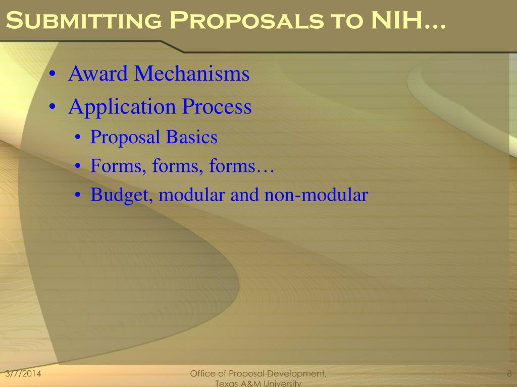Submitting Proposals to NIH…
