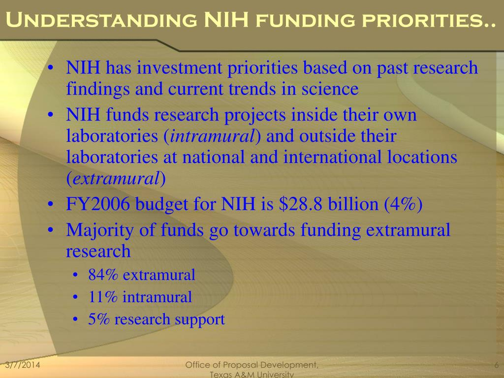 Understanding NIH funding priorities..