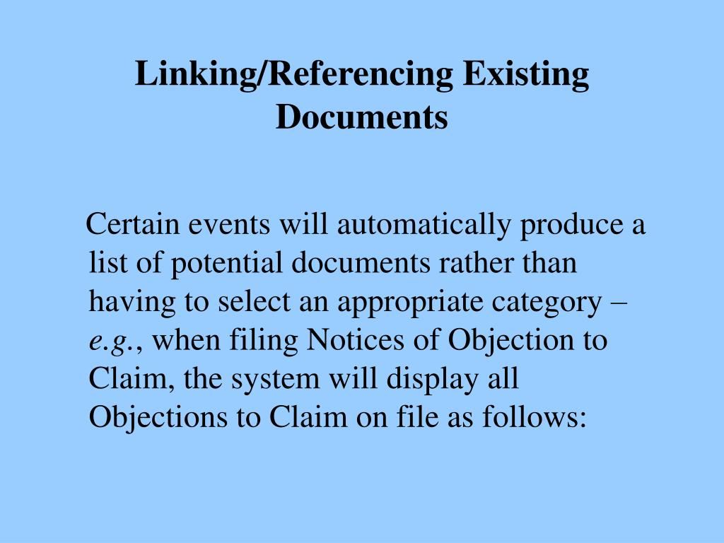 Linking/Referencing Existing Documents