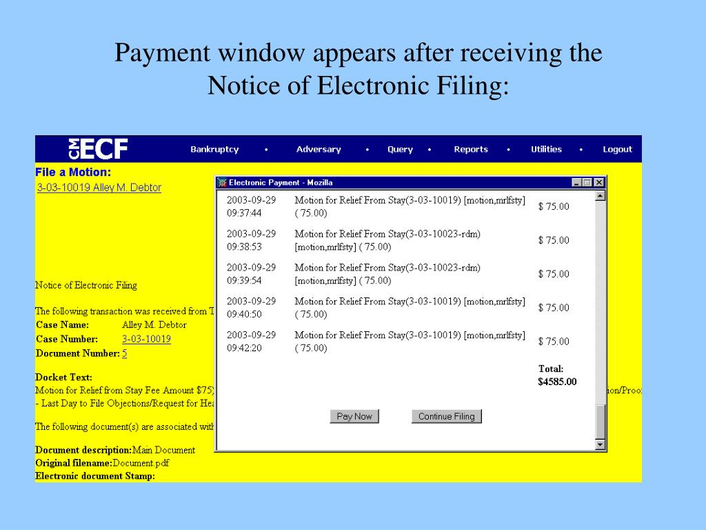 Payment window appears after receiving the