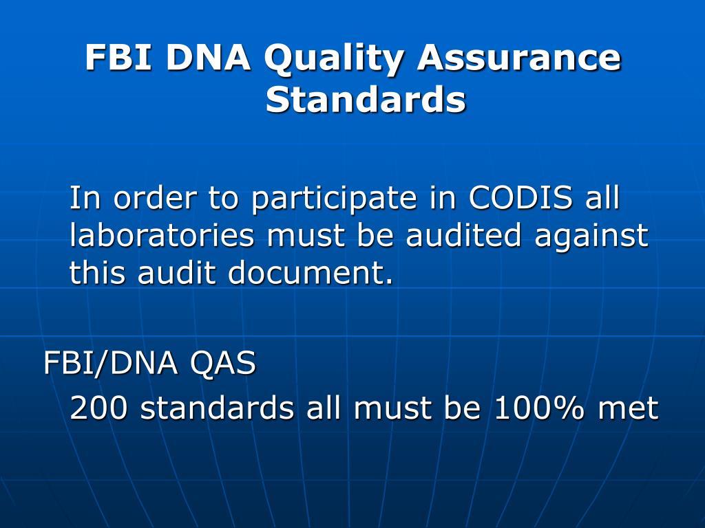 FBI DNA Quality Assurance Standards