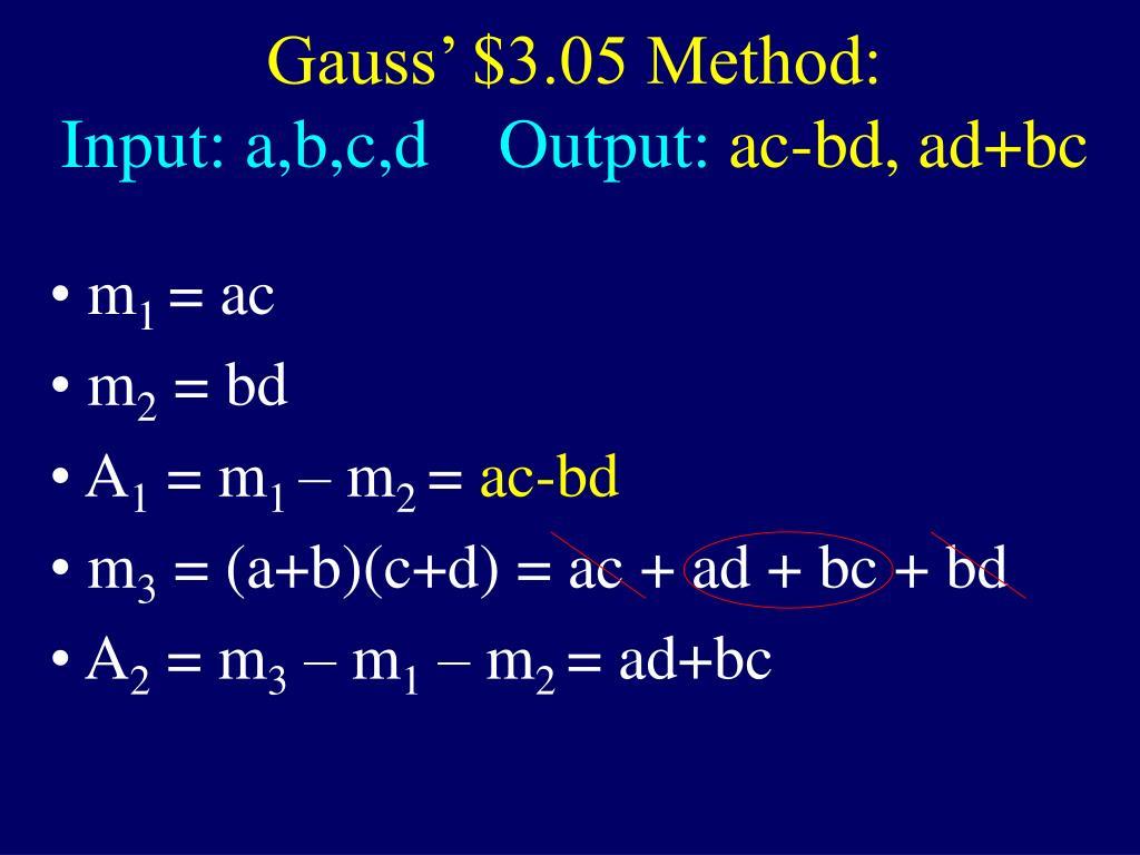 Gauss' $3.05 Method: