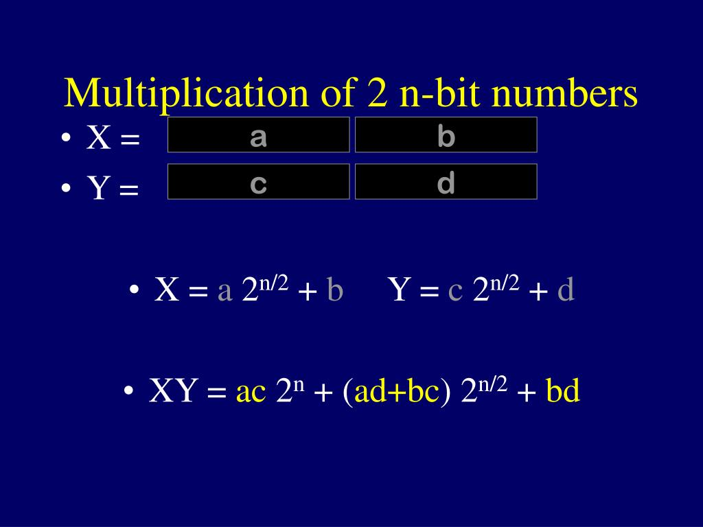 Multiplication of 2 n-bit numbers