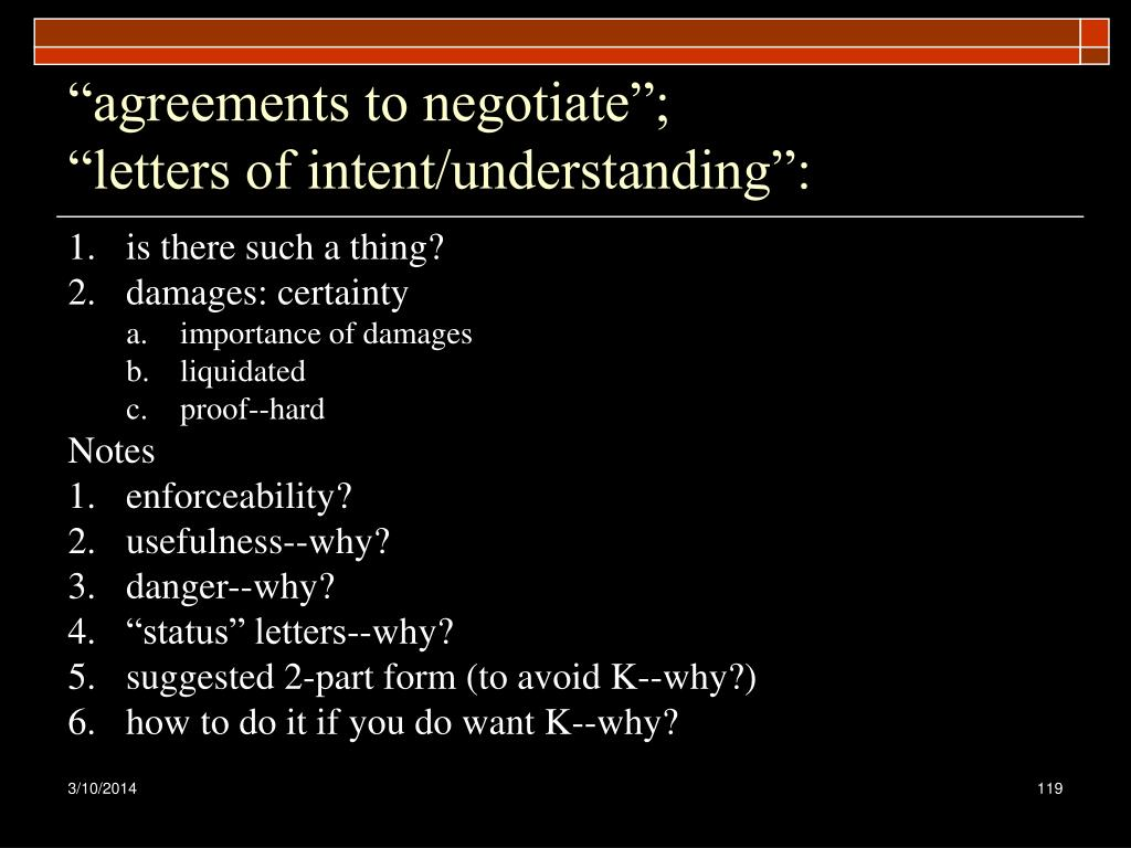 """agreements to negotiate"";"