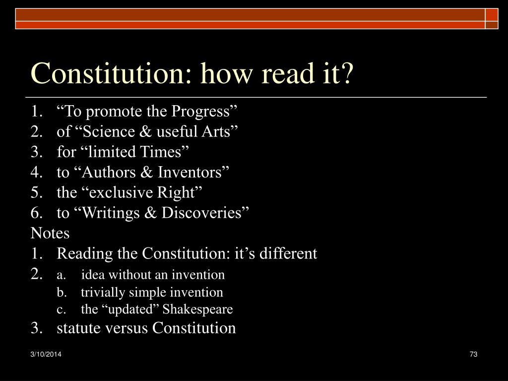 Constitution: how read it?