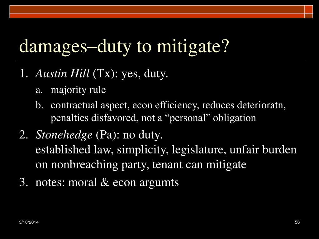 damages–duty to mitigate?