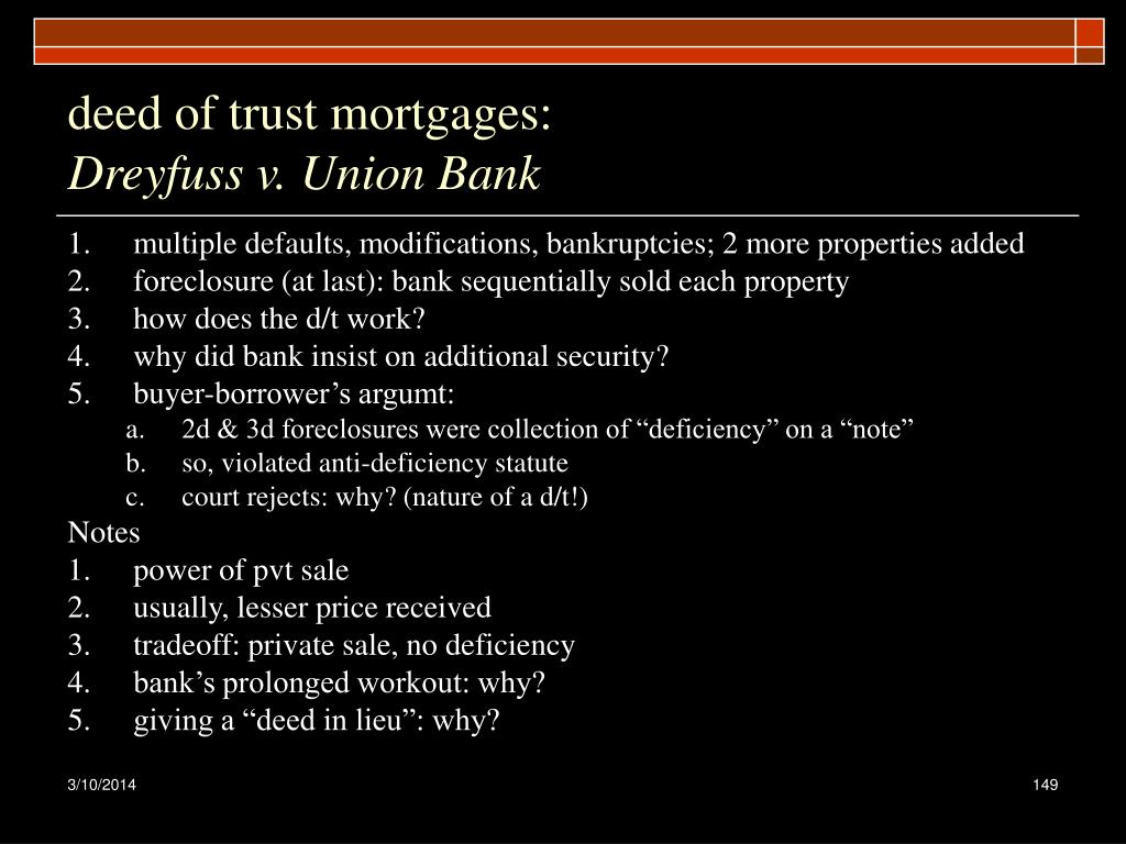 deed of trust mortgages: