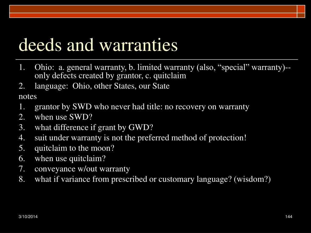 deeds and warranties