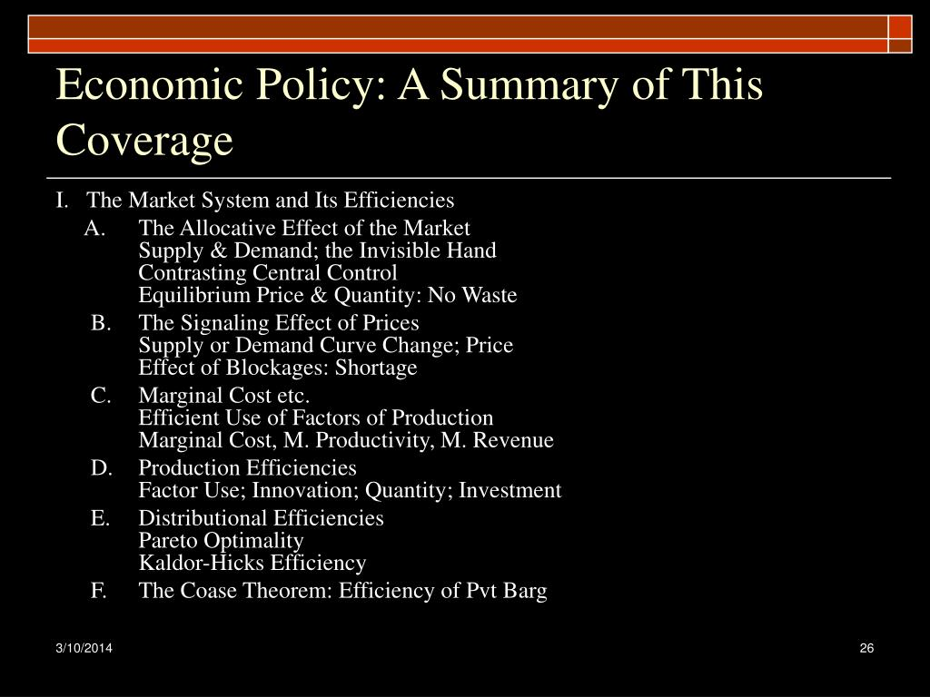 Economic Policy: A Summary of This Coverage