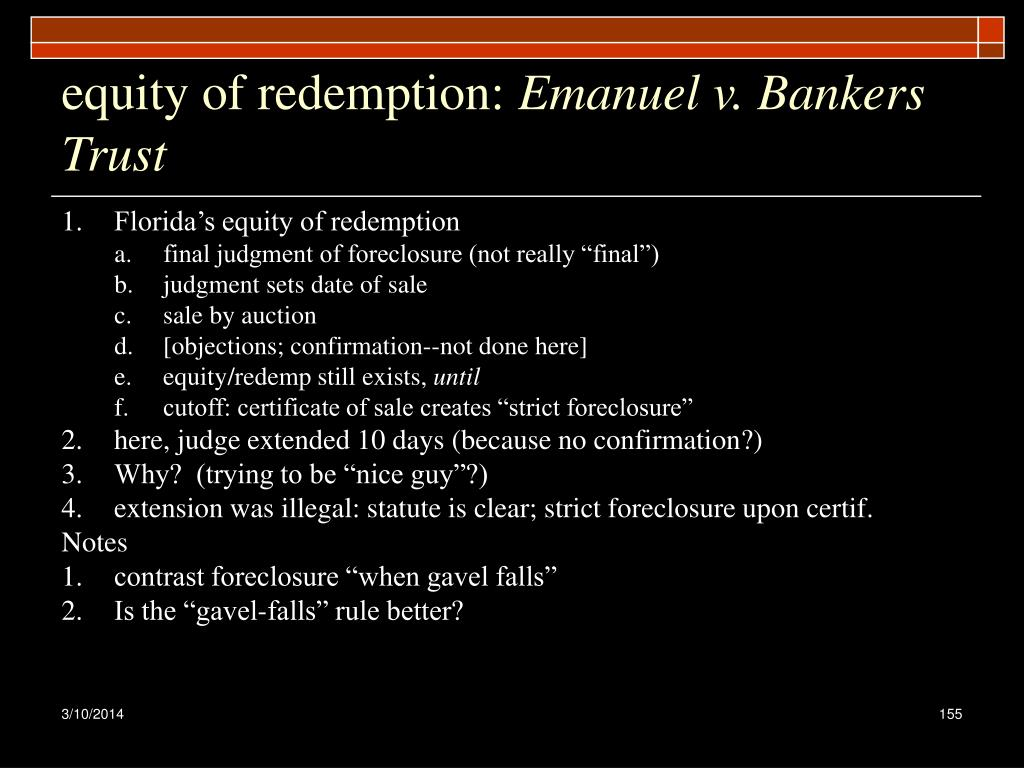 equity of redemption: