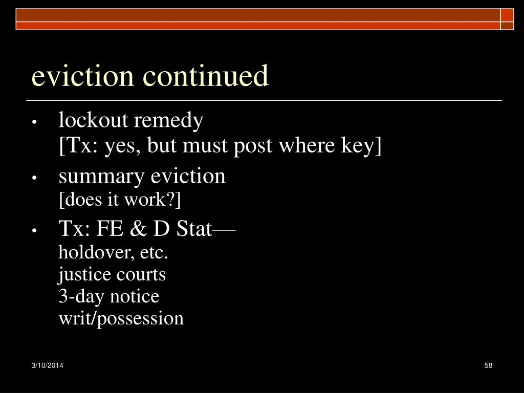eviction continued