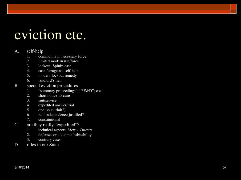 eviction etc.