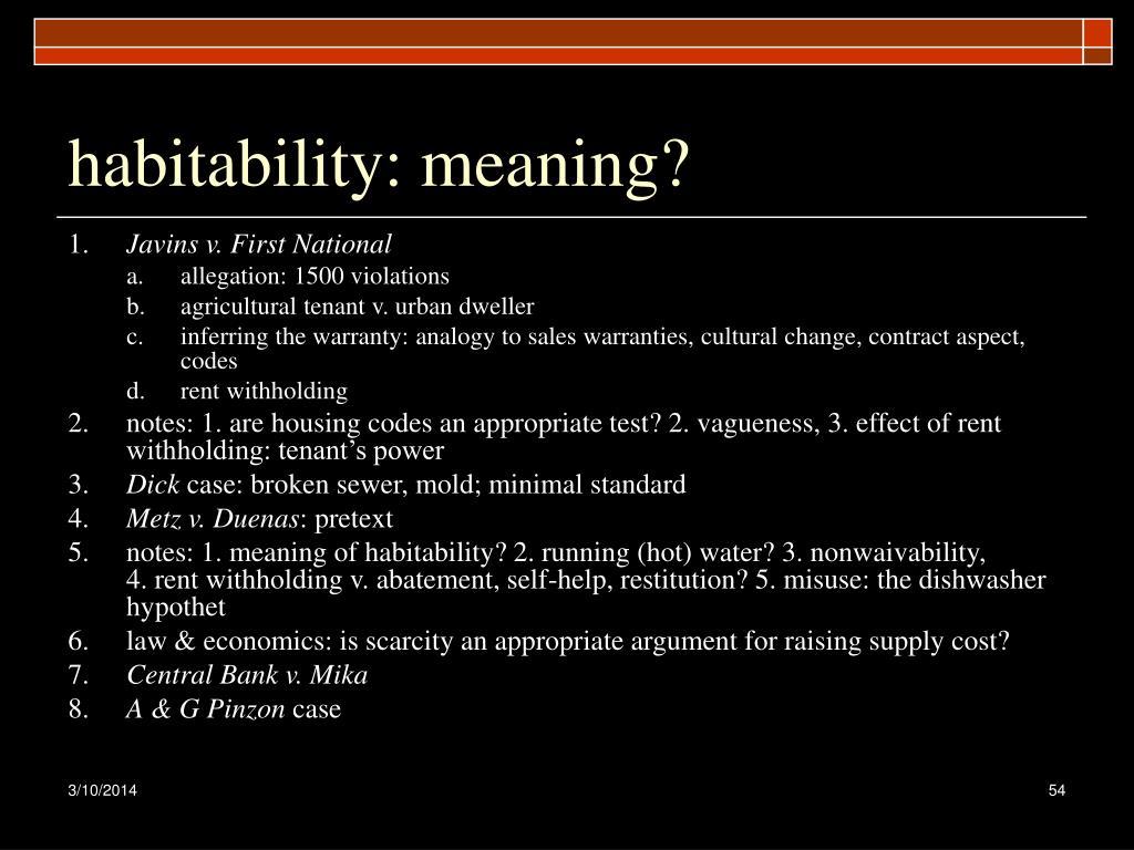 habitability: meaning?