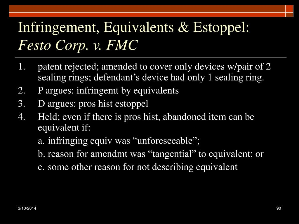 Infringement, Equivalents & Estoppel: