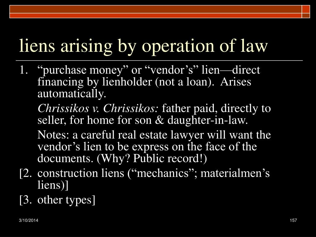 liens arising by operation of law