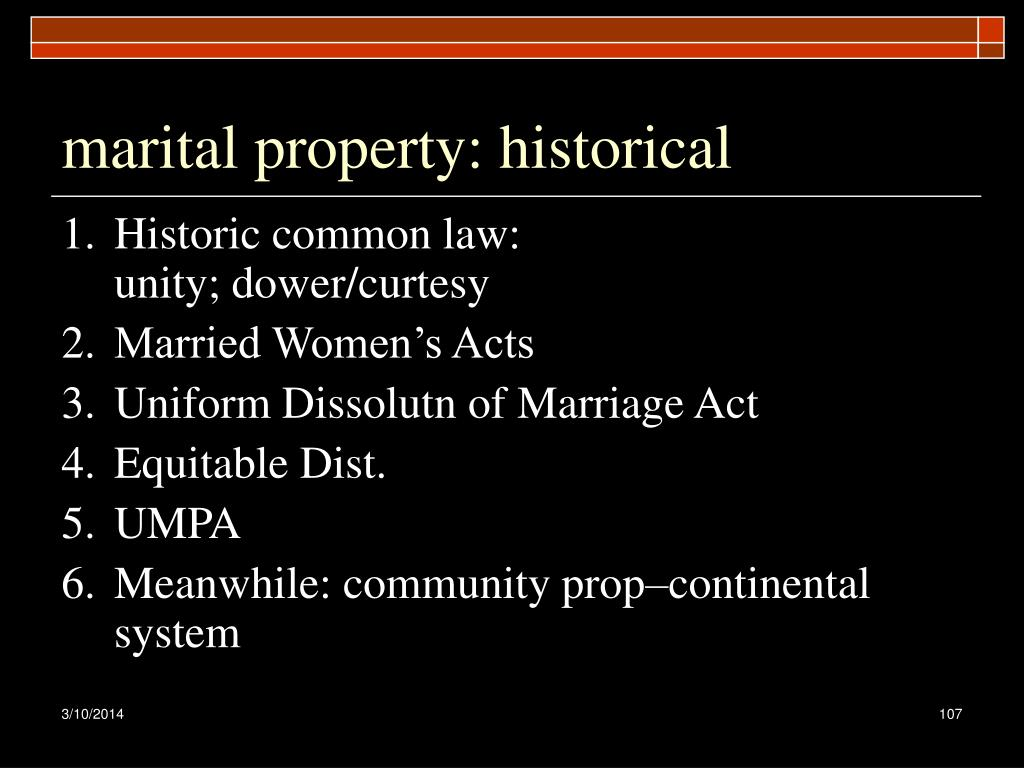 marital property: historical