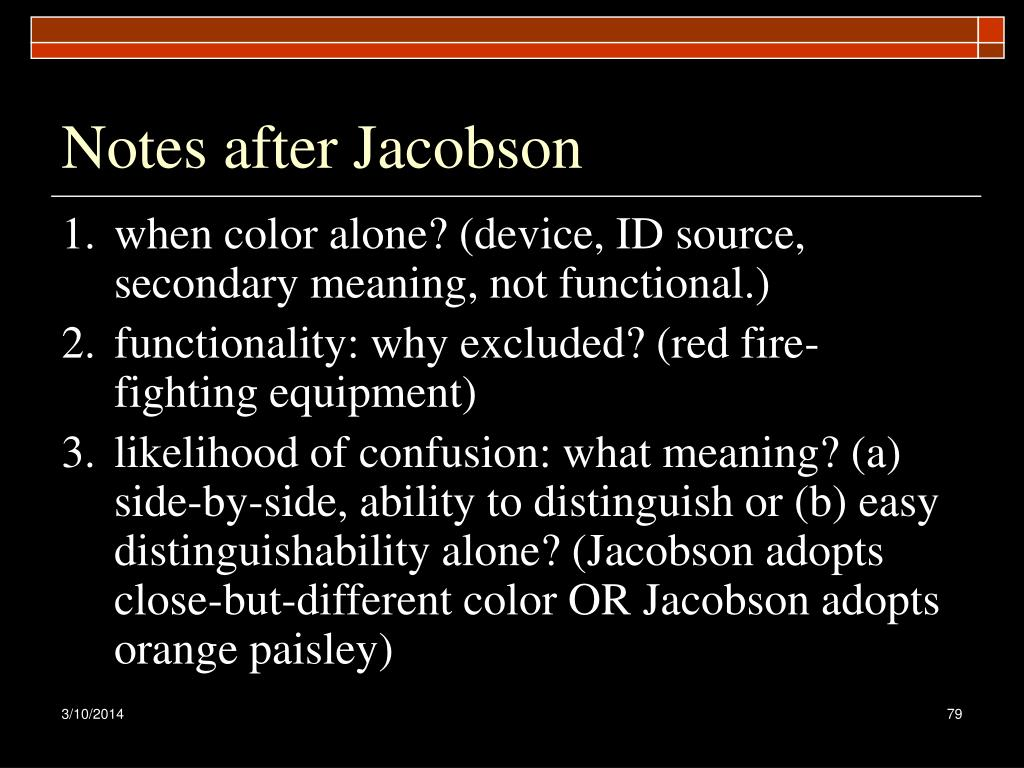 Notes after Jacobson
