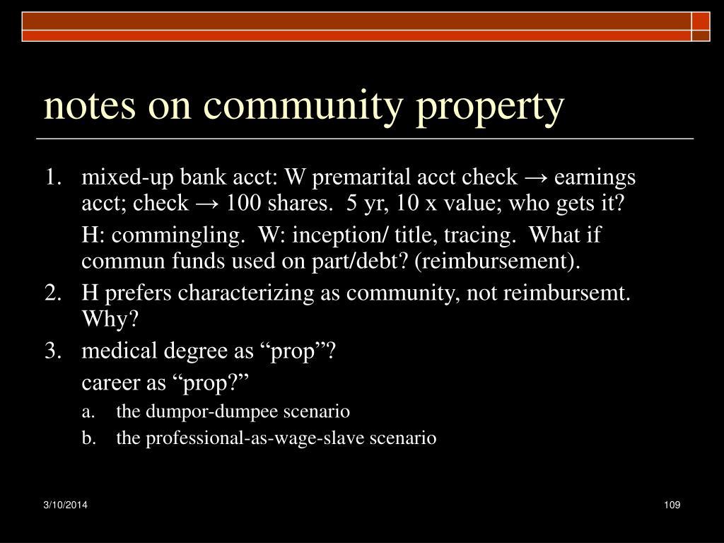 notes on community property