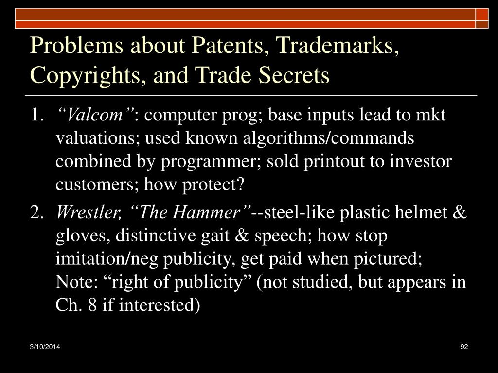 Problems about Patents, Trademarks, Copyrights, and Trade Secrets