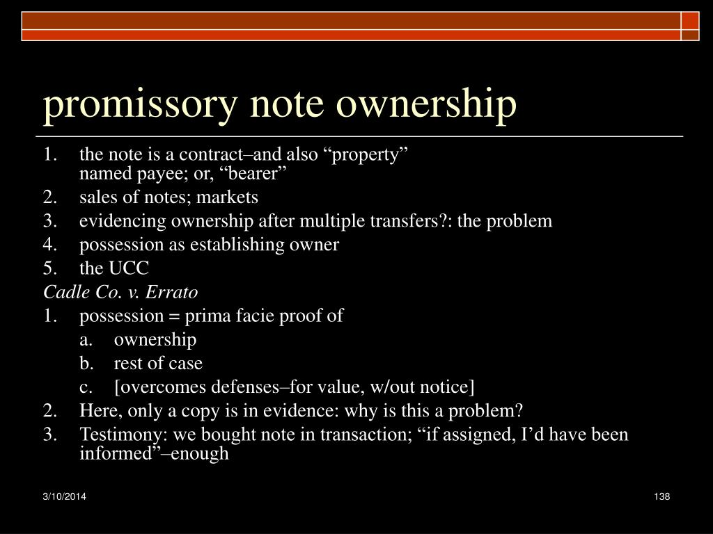 promissory note ownership