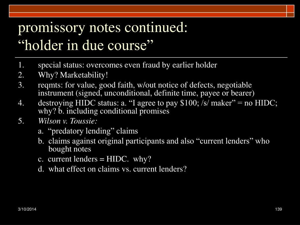 promissory notes continued: