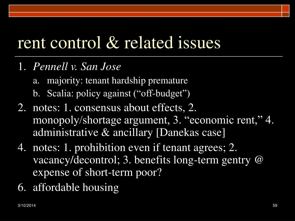 rent control & related issues