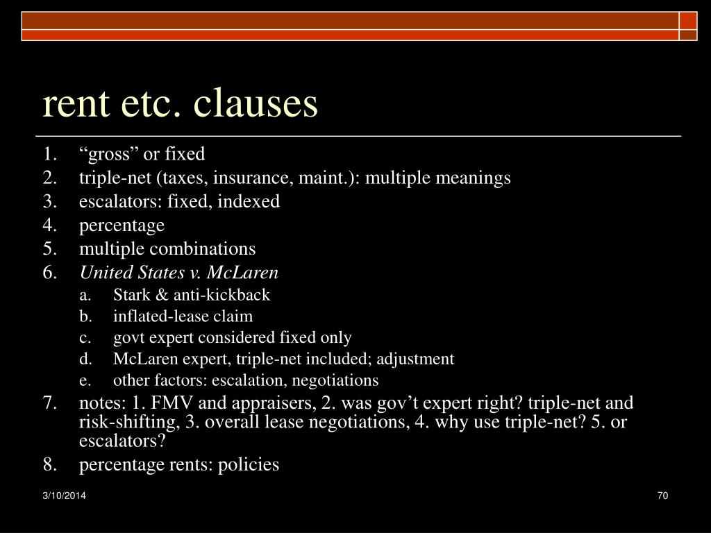 rent etc. clauses