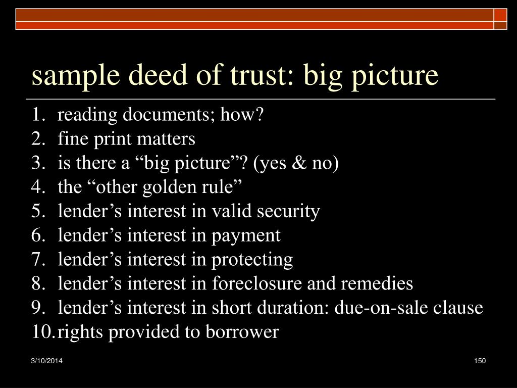 sample deed of trust: big picture