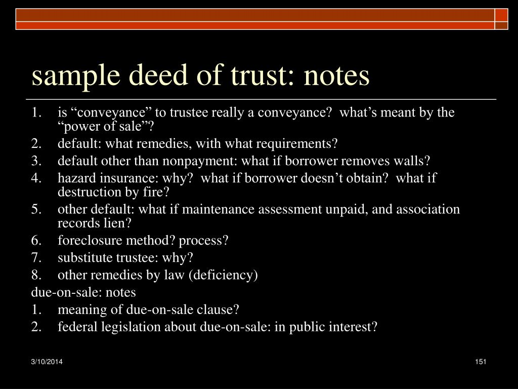 sample deed of trust: notes