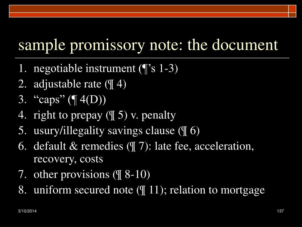 sample promissory note: the document