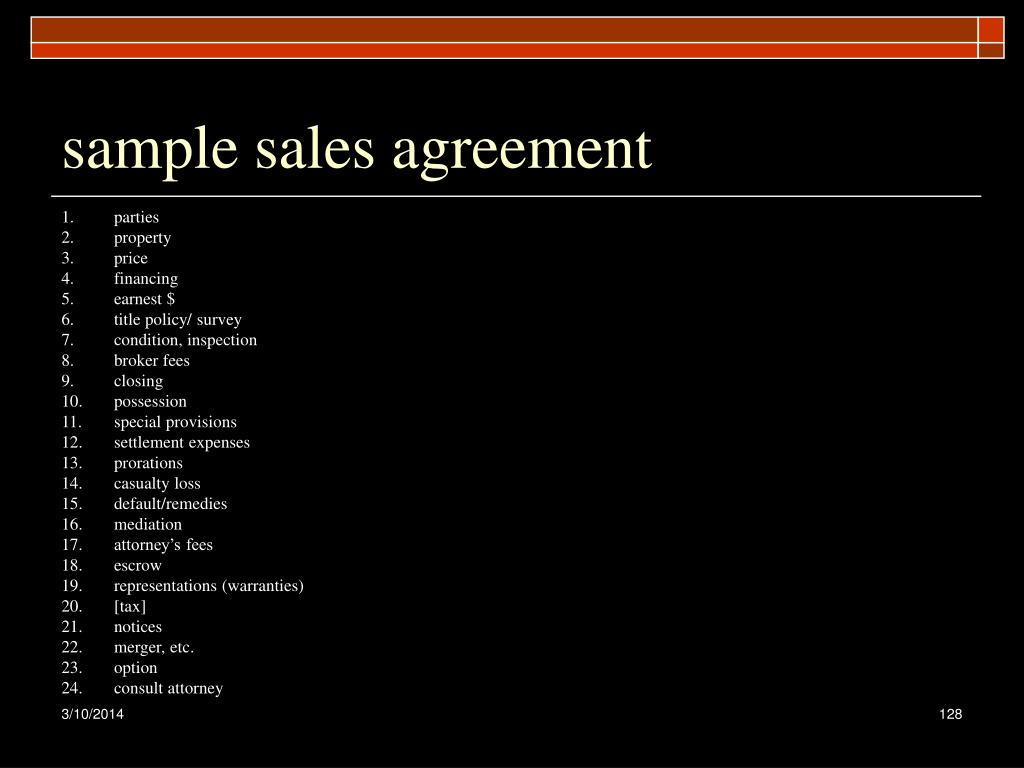 sample sales agreement