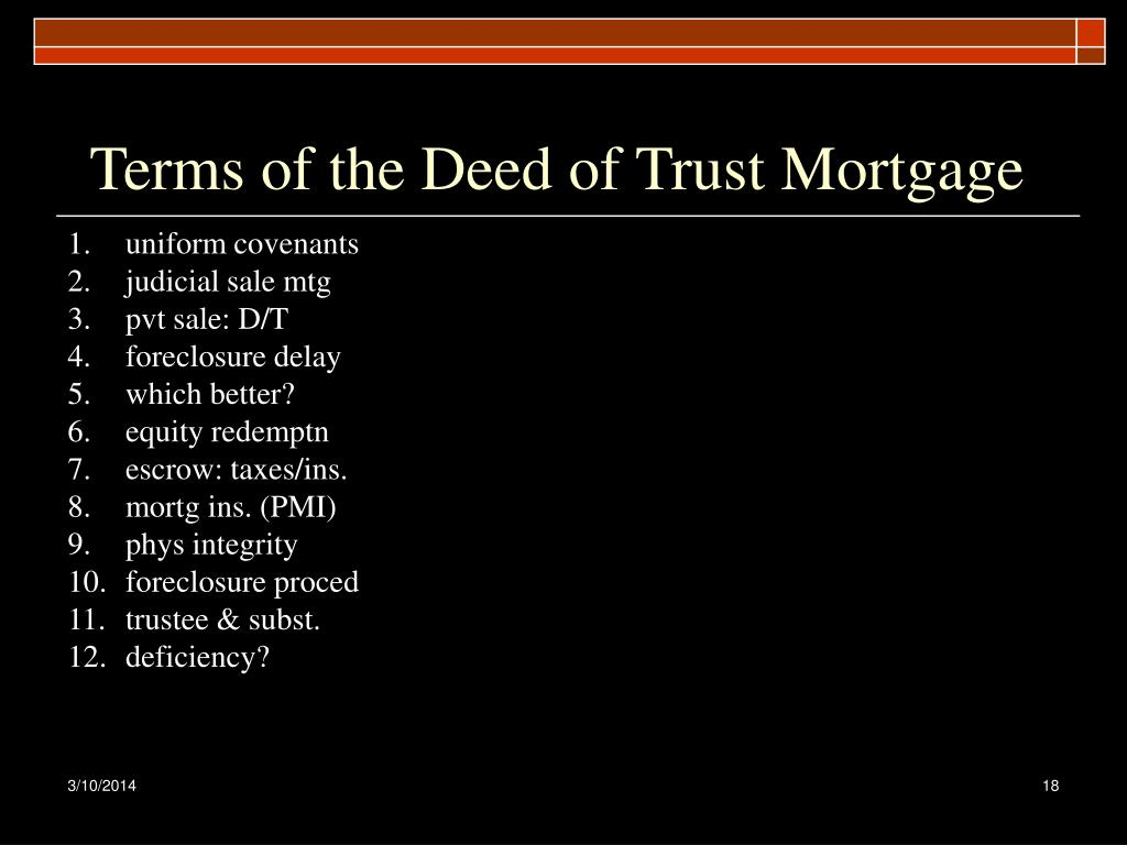 Terms of the Deed of Trust Mortgage