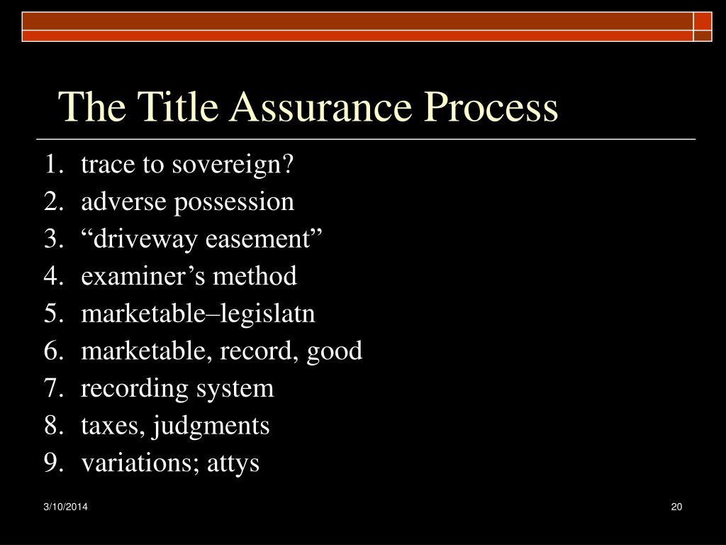 The Title Assurance Process