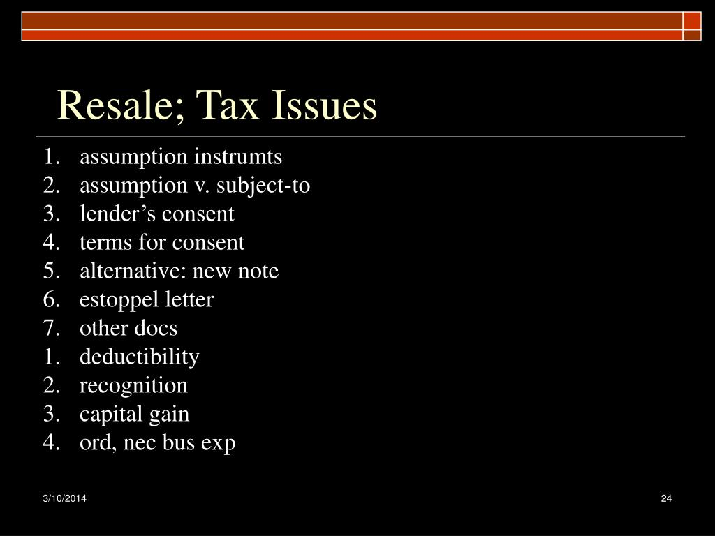 Resale; Tax Issues