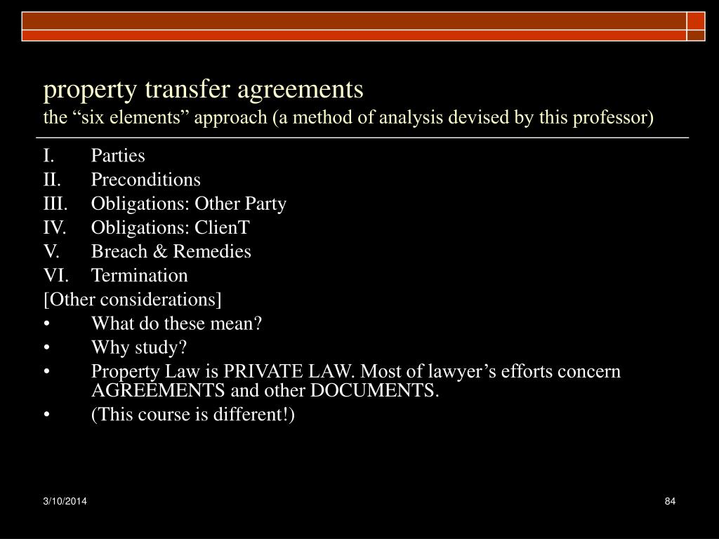 property transfer agreements