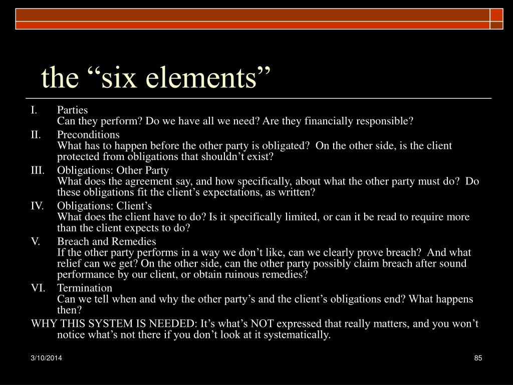 """the """"six elements"""""""