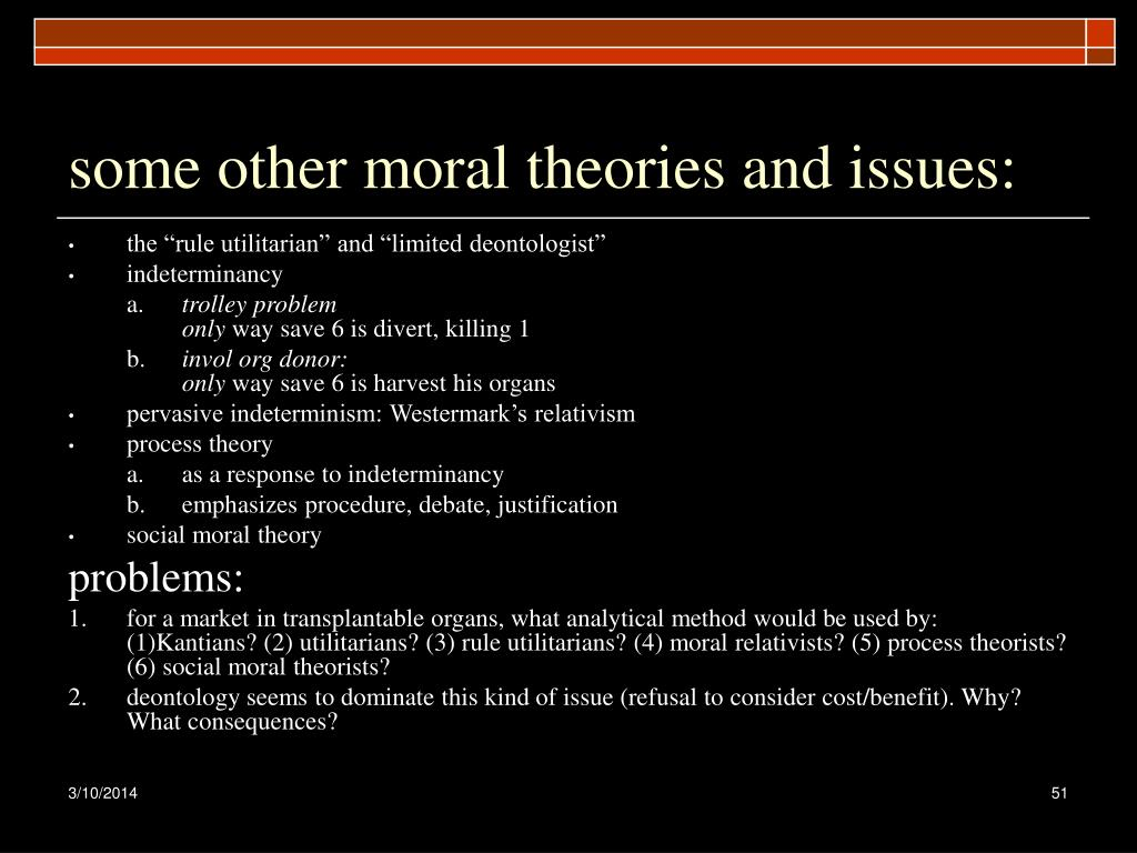 some other moral theories and issues:
