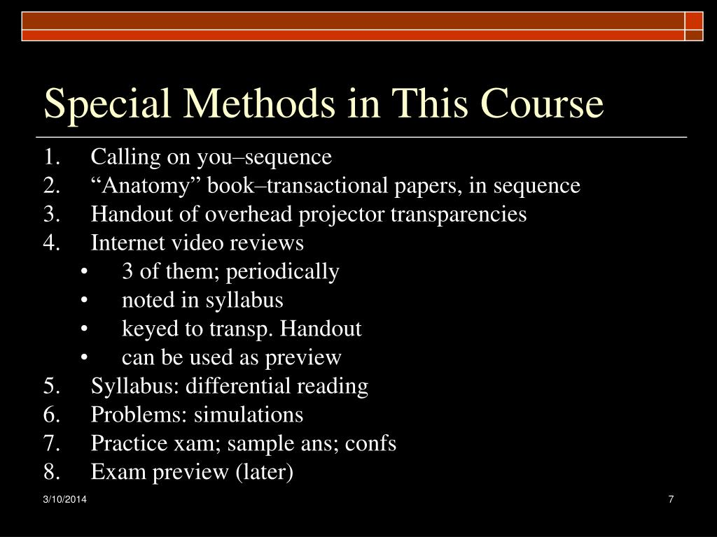 Special Methods in This Course