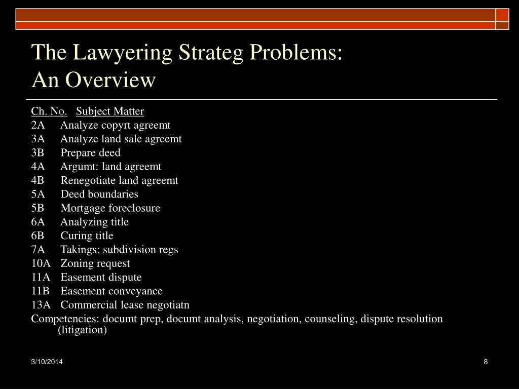 The Lawyering Strateg Problems: