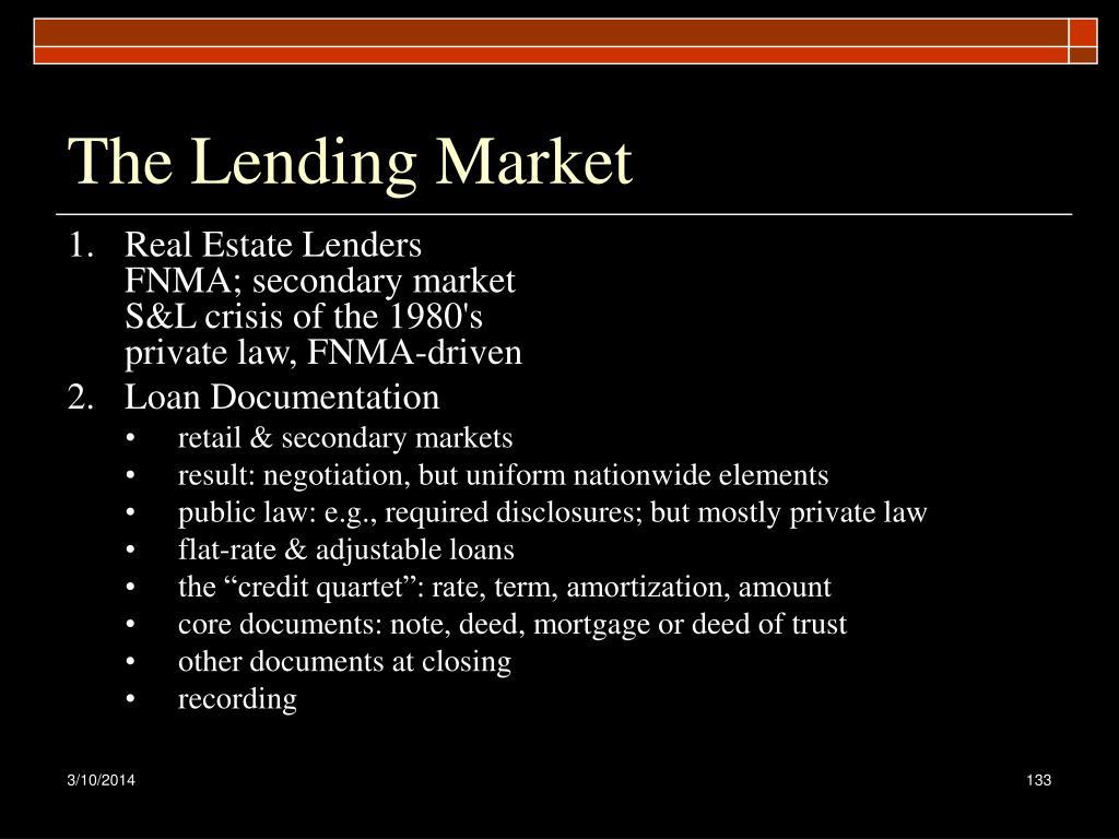 The Lending Market