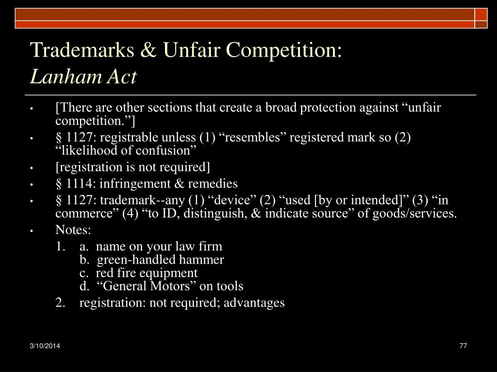 Trademarks & Unfair Competition:
