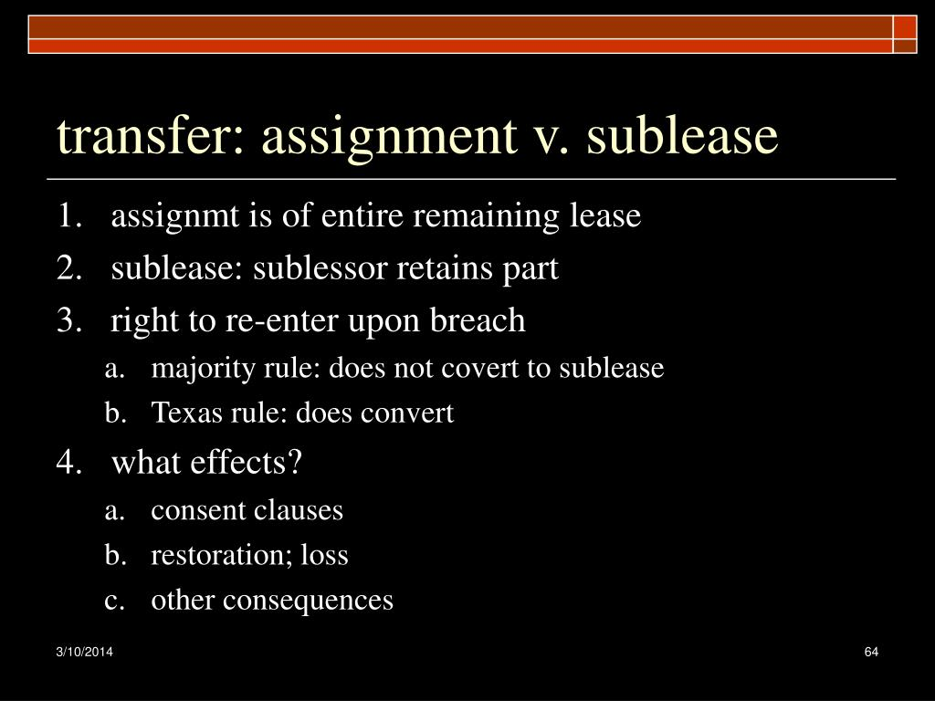 transfer: assignment v. sublease