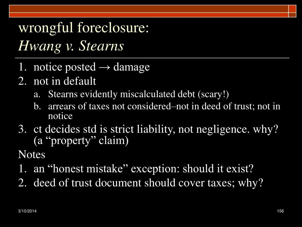wrongful foreclosure: