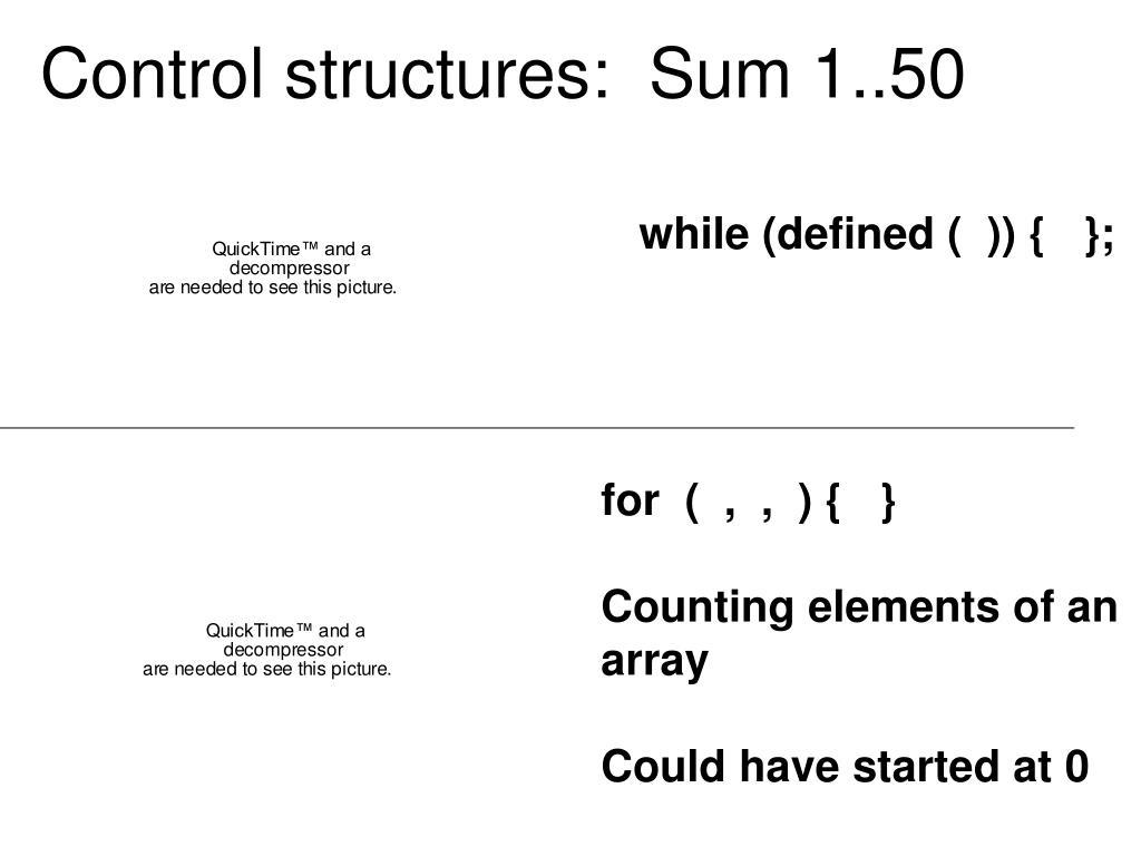 Control structures:  Sum 1..50