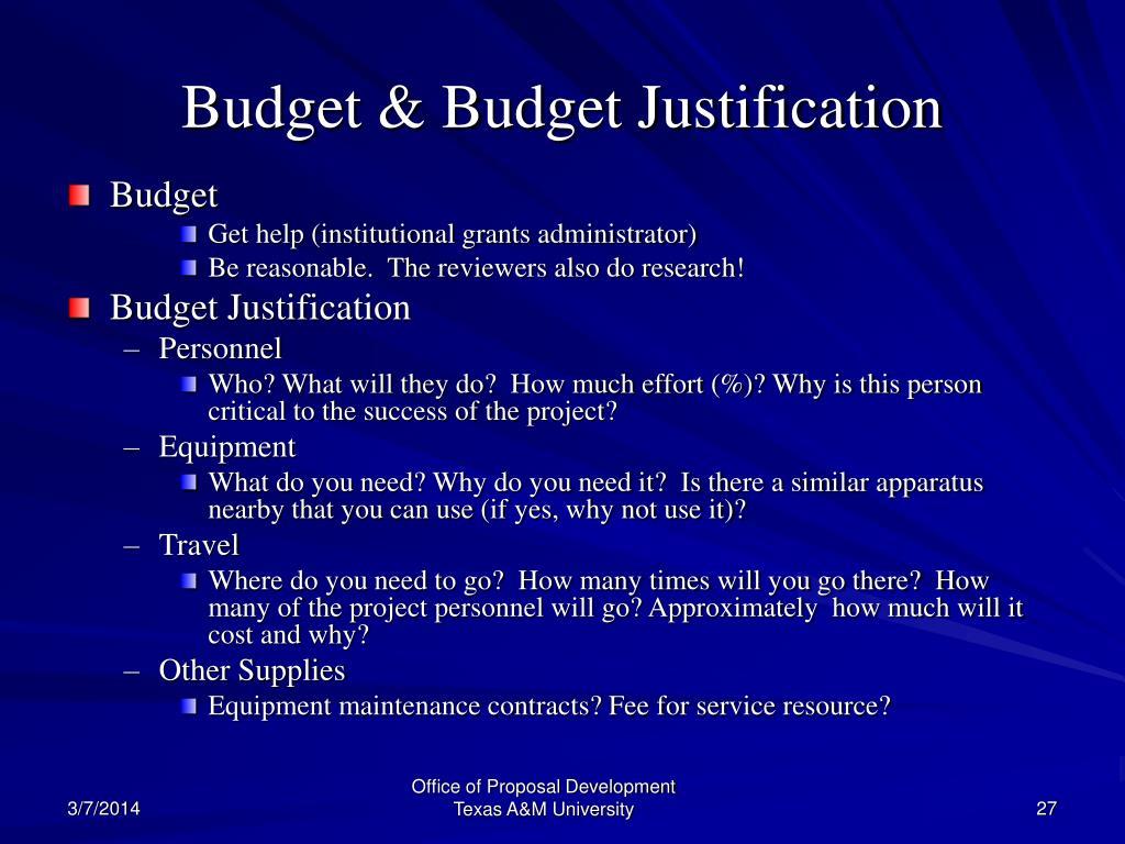 Budget & Budget Justification